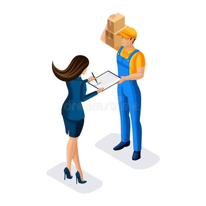 Le messager isométrique a livré un colis à une femme d'affaires, signe des documents à un homme dans l'uniforme illustration libre de droits