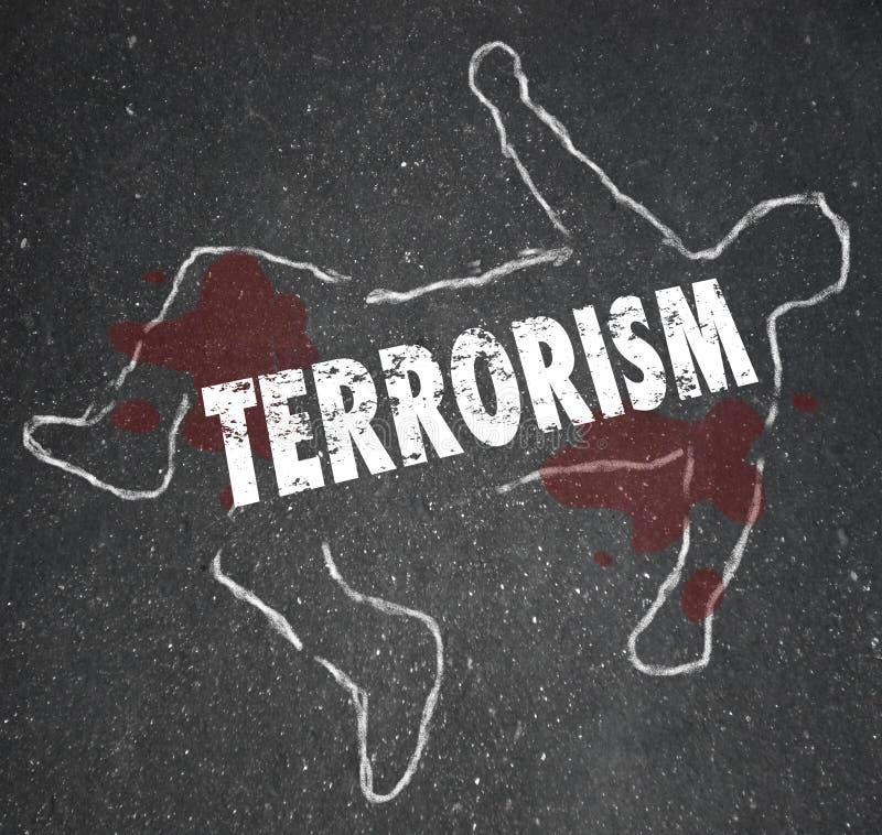 Le meurtre d'ensemble de craie de cadavre de terrorisme a tué la victime d'accident illustration stock
