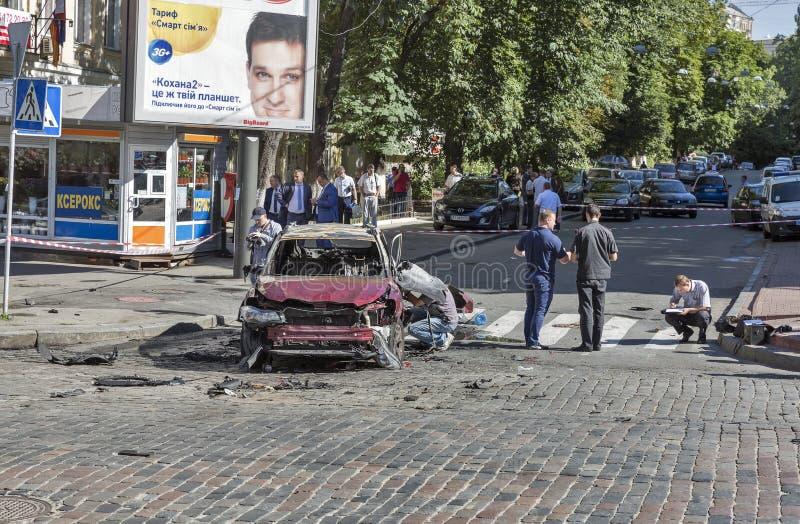 Le meurtre d'un journaliste important Pavel Sheremet à Kiev, Ukraine photos stock