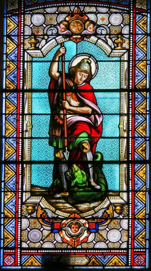 Le meurtre de St George le dragon a souillé le verre images libres de droits