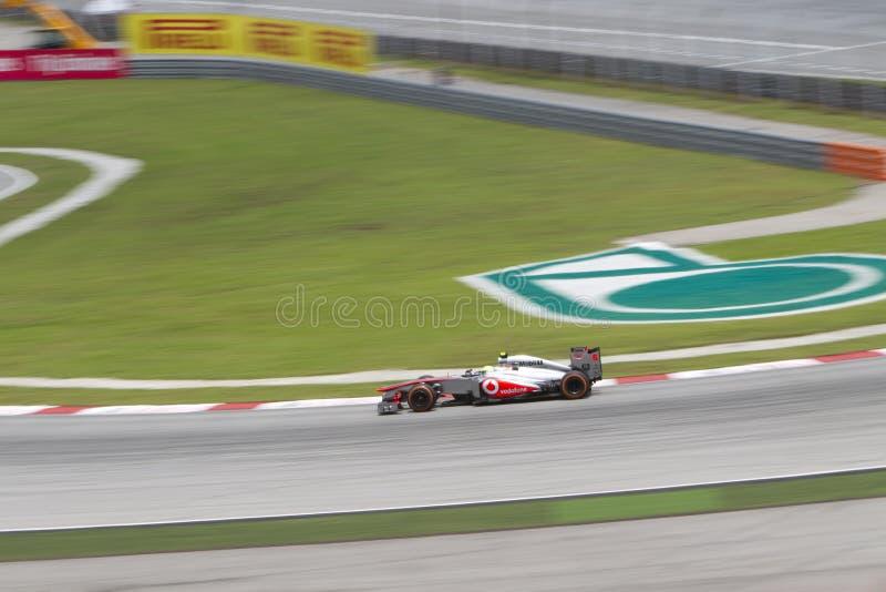 Les sorties de Sergio Perez tournent 1 au généraliste du Malaysian F1 images stock