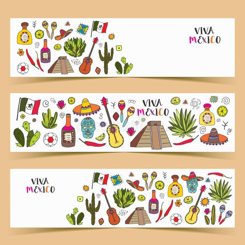 Le Mexique a coloré des bannières de griffonnage avec la culture de traditions d'isolement illustration stock