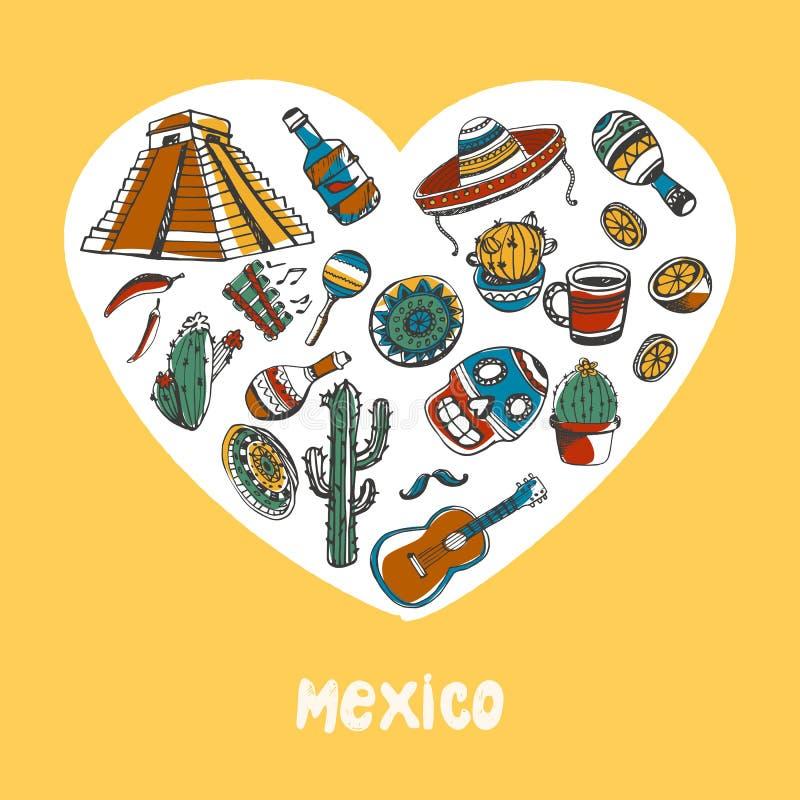 Le Mexique a coloré la collection de vecteur de griffonnages illustration libre de droits