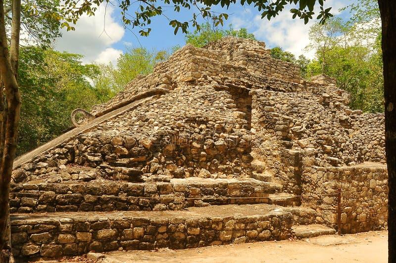 Le Mexique, sur le chemin à l'ascension de pyramide de Coba image stock