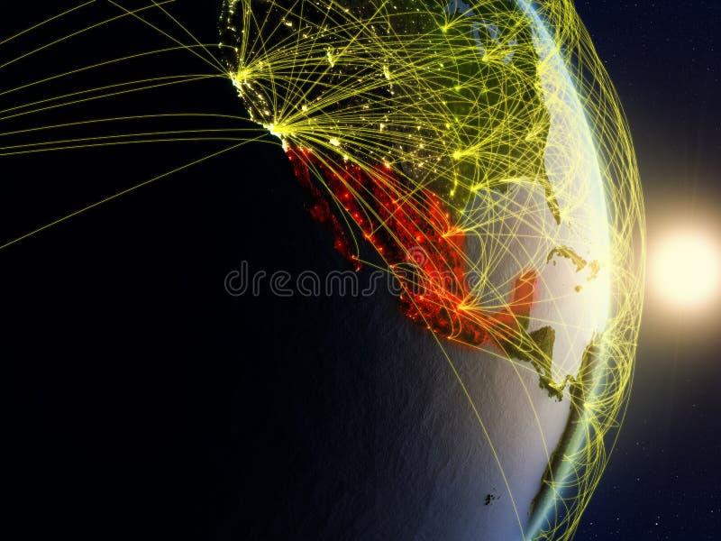 Le Mexique sur la terre reliée au réseau de planète photo libre de droits