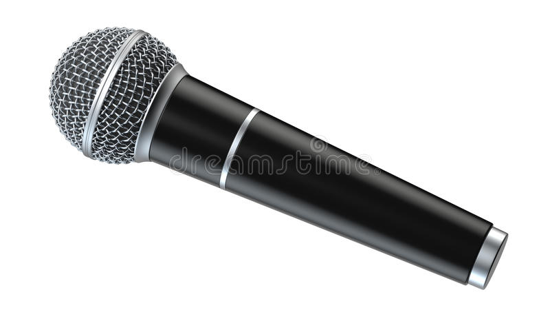 Le microphone d'isolement sur le fond blanc 3D rendent illustration libre de droits