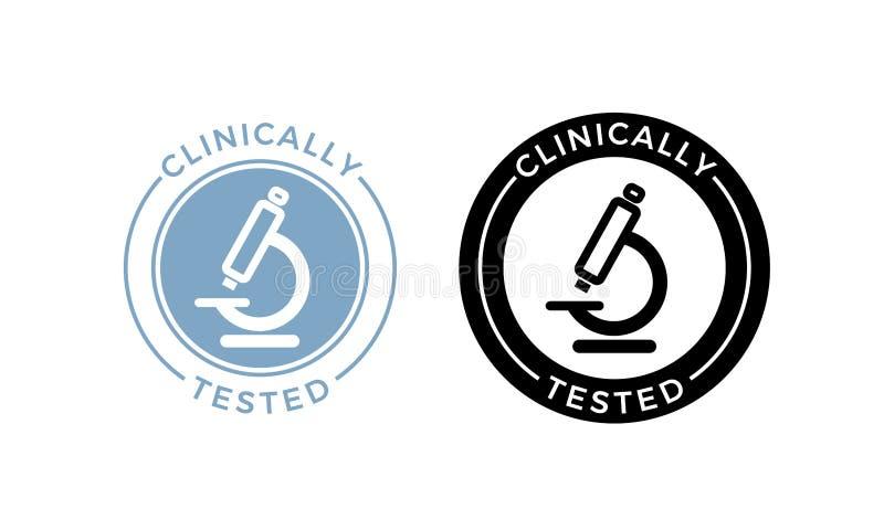Le microscope a médicalement examiné l'icône de vecteur Label sûr de microscope de certificat de santé médicalement approuvée de  illustration de vecteur