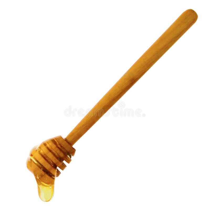 Le miel d'isolement laisse tomber circuler sur le bâton en bois d'isolement sur le fond blanc photos libres de droits