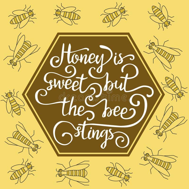 Le miel est doux mais les piqûres d'abeilles illustration libre de droits