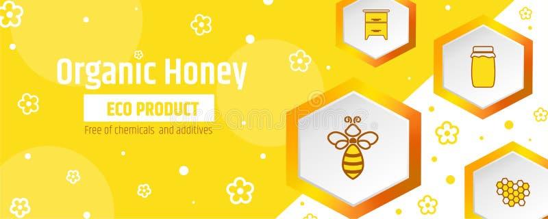 Le miel est un produit écologique organique Bannière ou calibre de design d'emballage L'apiculture et rucher illustration de vecteur