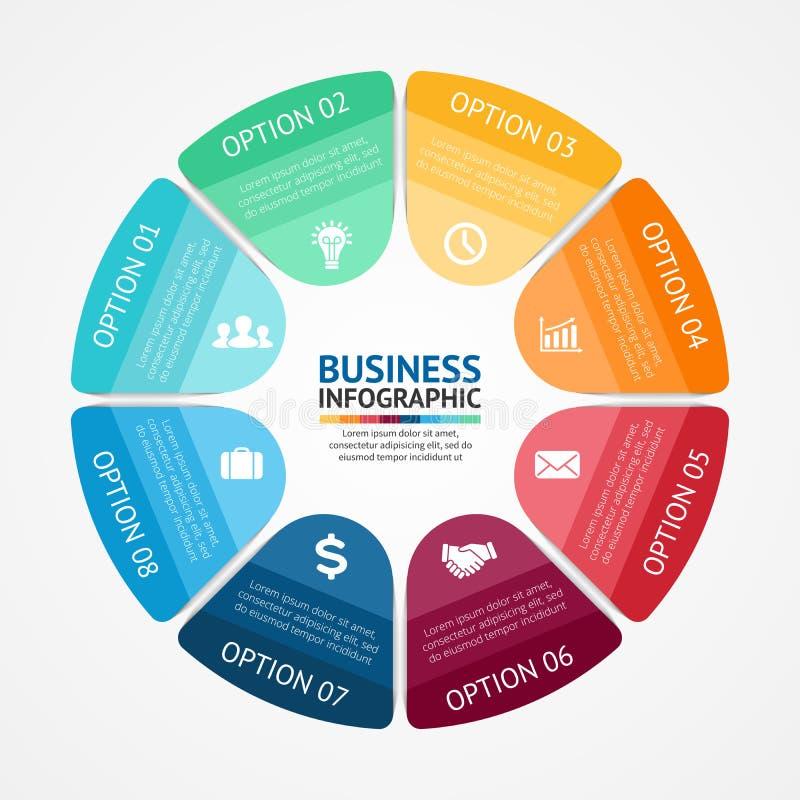 Le milieu économique infographic, diagram 8 options illustration de vecteur