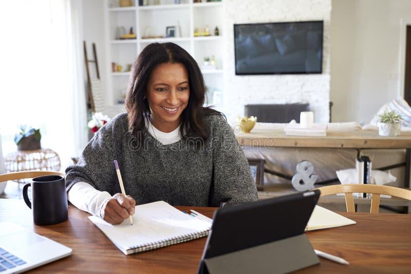 Le milieu de sourire a vieilli la femme d'Afro-américain s'asseyant à la table dans sa salle à manger regardant la tablette et fa photo libre de droits