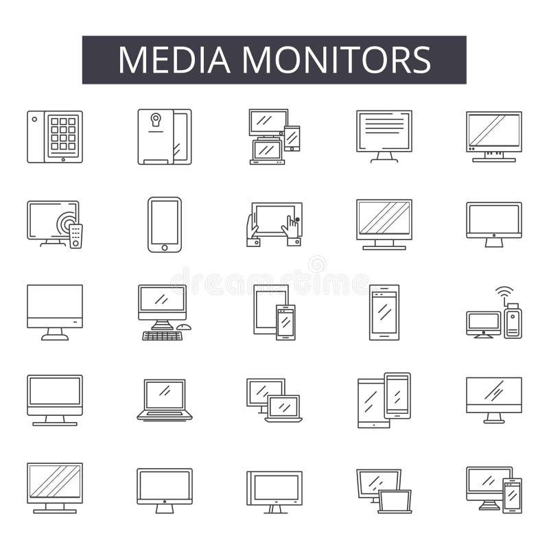 Le milieu surveille la ligne icônes pour le Web et la conception mobile Signes Editable de course Le milieu surveille des illustr illustration libre de droits