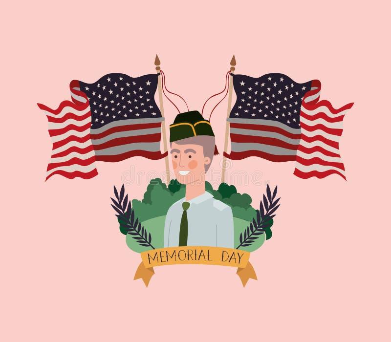 Le militaire avec l'uniforme dans le domaine avec des drapeaux des Etats-Unis a croisé illustration libre de droits