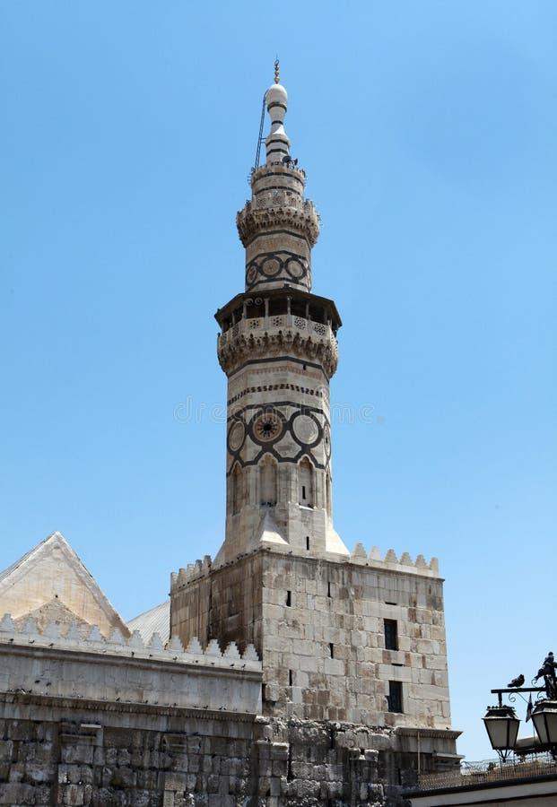 Le minaret de la mosquée d'Umayyad à Damas, Syrie. photographie stock