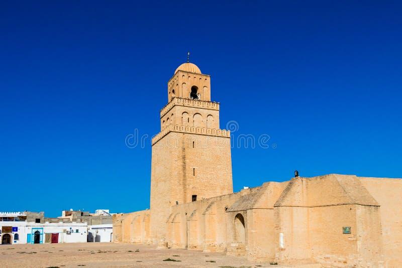Le minaret, grande mosquée de Kairouan, Kairouan est le quatrième la plupart de Ville Sainte de la foi musulmane, Tunisie photos libres de droits