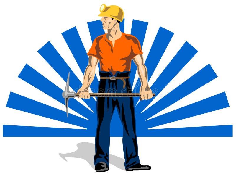 Le mineur avec la pioche illustration de vecteur