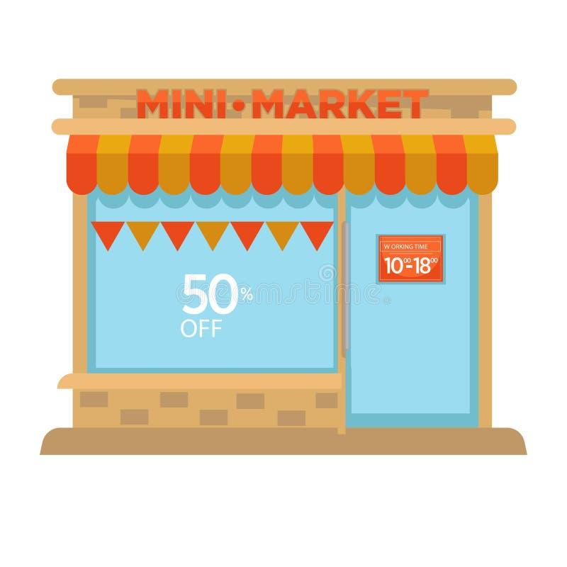 Le mini bâtiment de façade de cabine de boutique du marché de la conception plate de vecteur d'épicerie a isolé l'icône illustration de vecteur