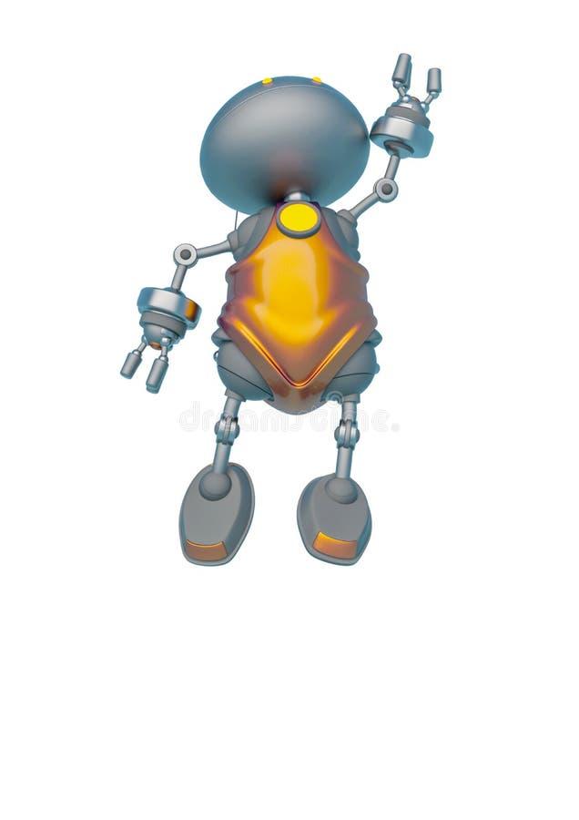 Le mini bot saute à un arrière-plan blanc illustration libre de droits