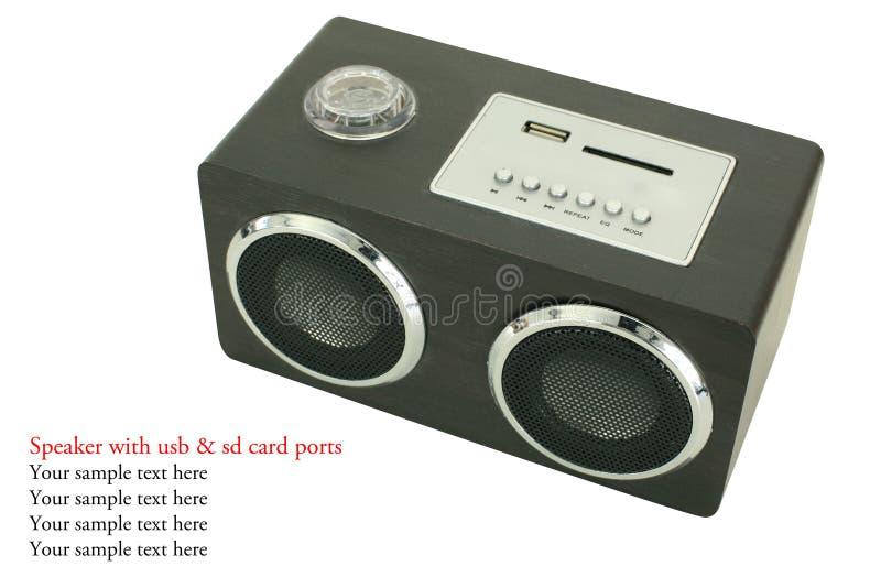 Le mini orateur noir avec l'usp et l'écart-type cardent des ports photographie stock libre de droits