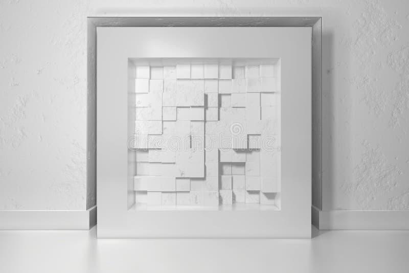 Le minimalisme, raillent vers le haut de l'affiche, intérieur de l'illutration 3d Cadre blanc dans un créneau dans le mur plâtré  illustration stock