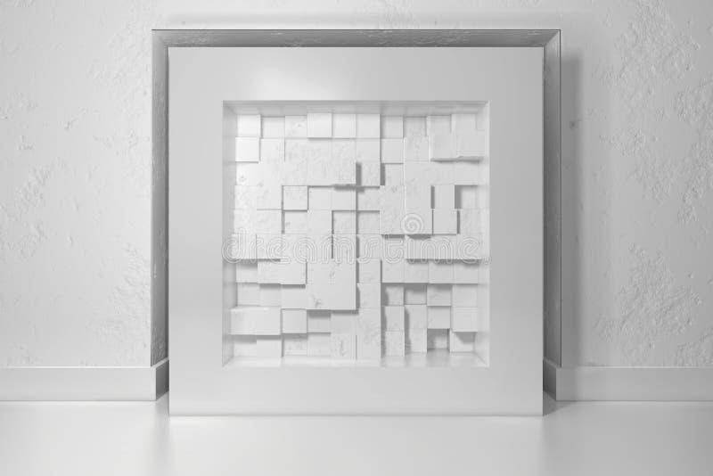 Le minimalisme, raillent vers le haut de l'affiche, intérieur de l'illutration 3d Cadre blanc dans un créneau dans le mur plâtré  illustration de vecteur
