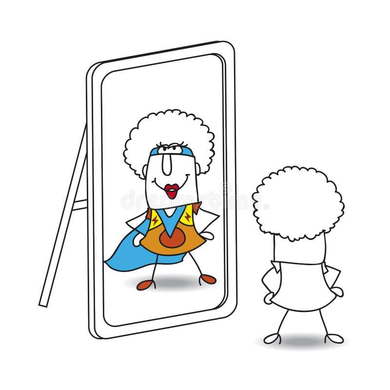 Le miroir et le supergirl génial illustration de vecteur