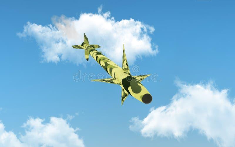 Le missile de croisière militaire vole au-dessus du ciel bleu illustration 3D illustration libre de droits