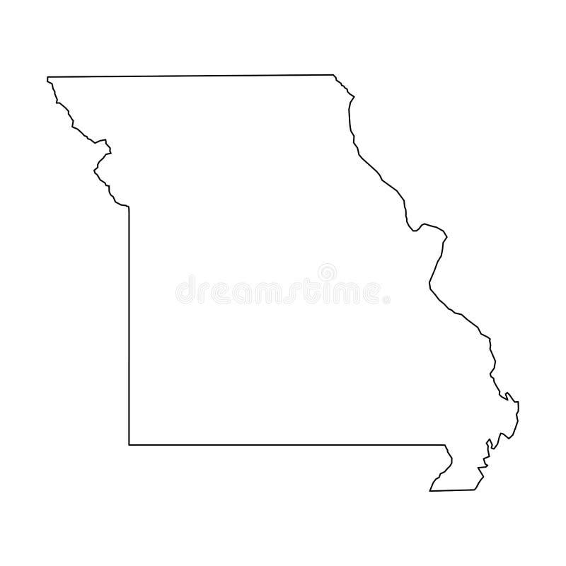 Le Missouri, état des Etats-Unis - carte noire solide d'ensemble de secteur de pays Illustration plate simple de vecteur illustration stock