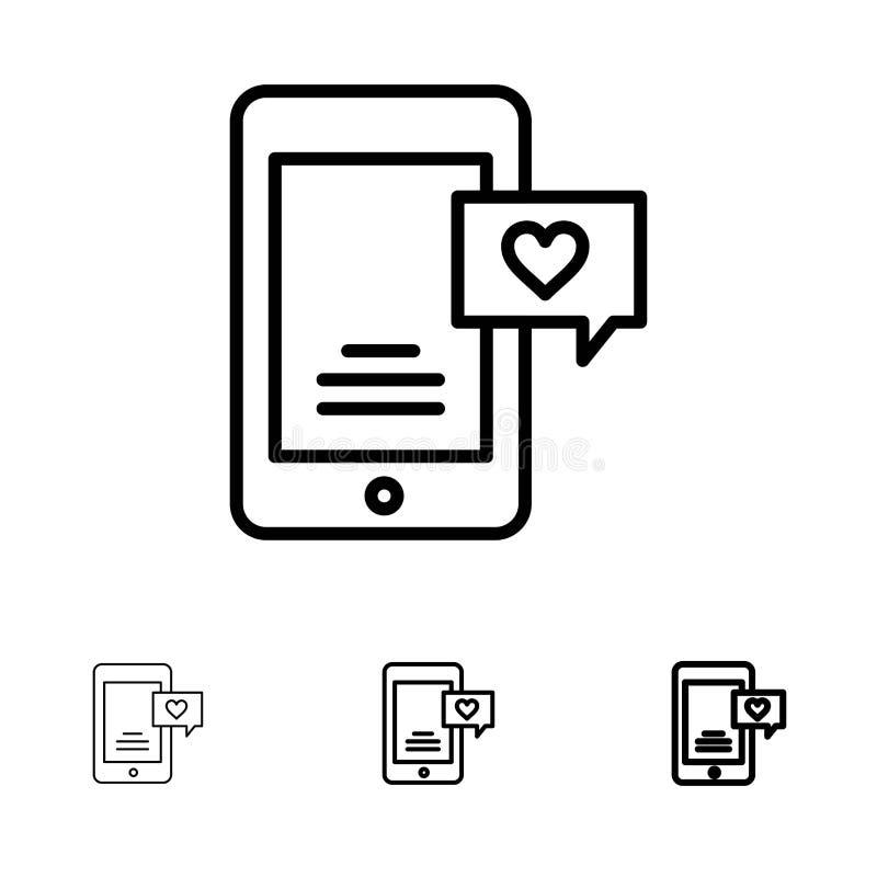 Le mobile, causerie, bulle de causerie, amour causent la ligne noire audacieuse et mince ensemble d'icône illustration de vecteur