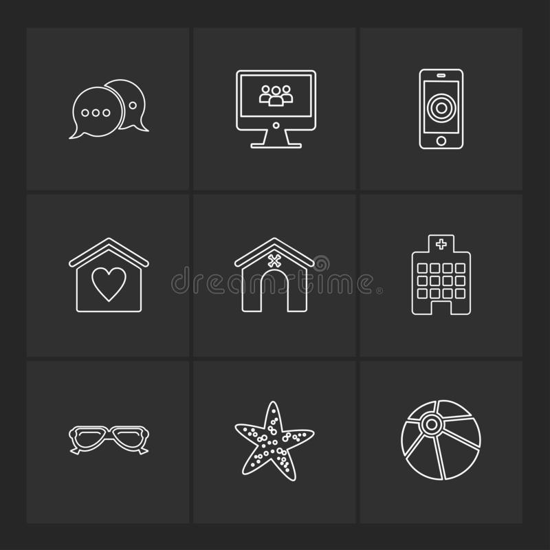 le mobile, ordinateur, technologie, appels, maison, icônes d'ENV a placé le VE illustration de vecteur