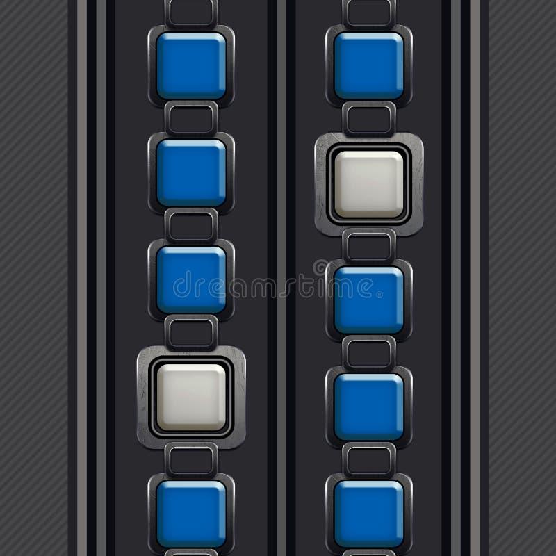 Le mod?le ?l?gant et ornemental, places argent?es dans bleu et blanc, a barr? Grey Background illustration stock