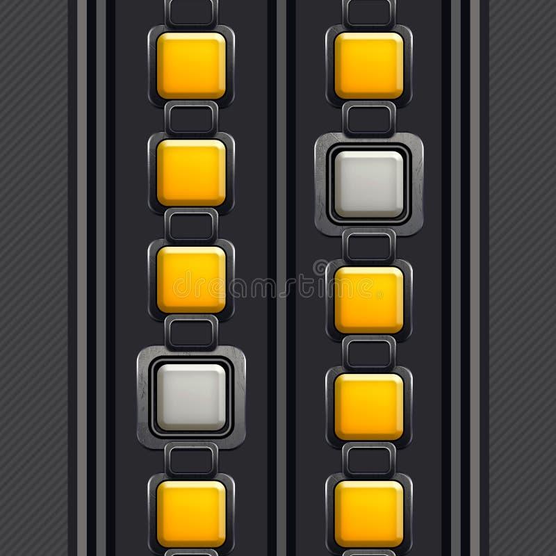 Le mod?le ?l?gant et ornemental, places argent?es dans jaune et blanc, a barr? Grey Background illustration libre de droits