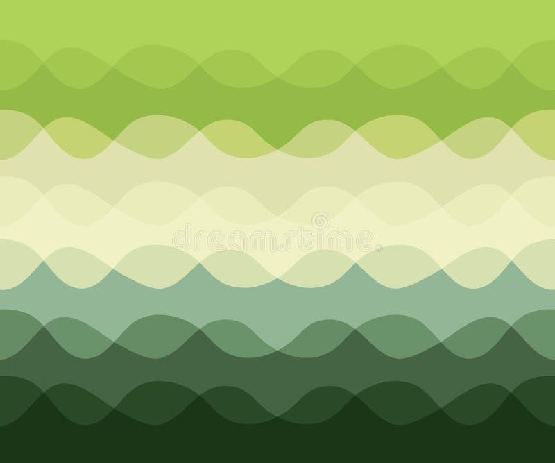 Le modèle abstrait avec le mouvement ondule, des Lignes Vertes de courbe illustration libre de droits