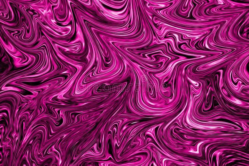 Le modèle abstrait liquide avec le rose en plastique et les graphiques noirs colorent Art Form Fond de Digital avec l'écoulement  illustration de vecteur