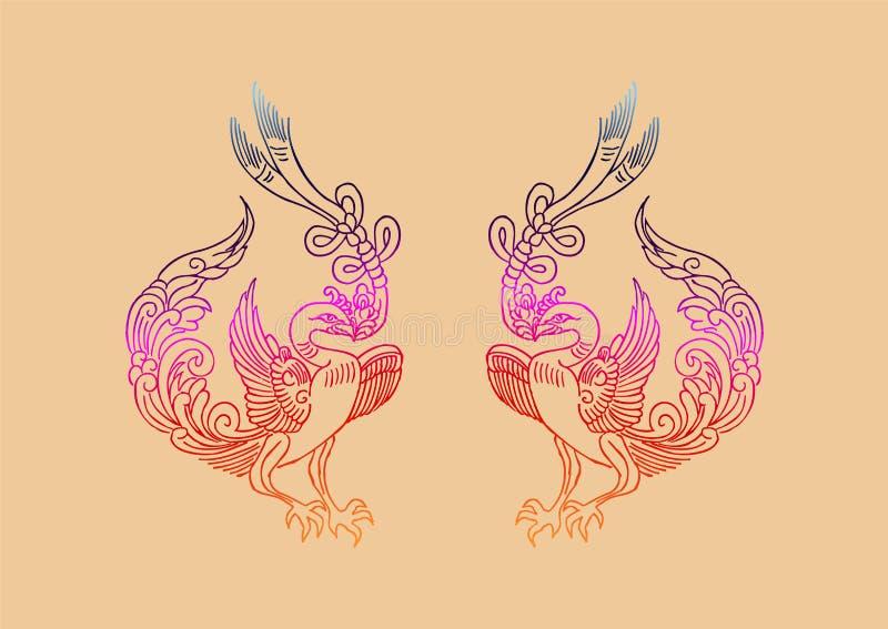 Le modèle antique de Phoenix de Chinois illustration de vecteur