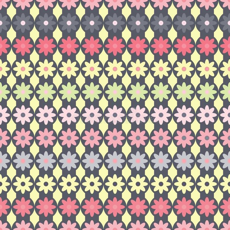 Le modèle avec des fleurs sur le gris dépouille des cercles illustration de vecteur