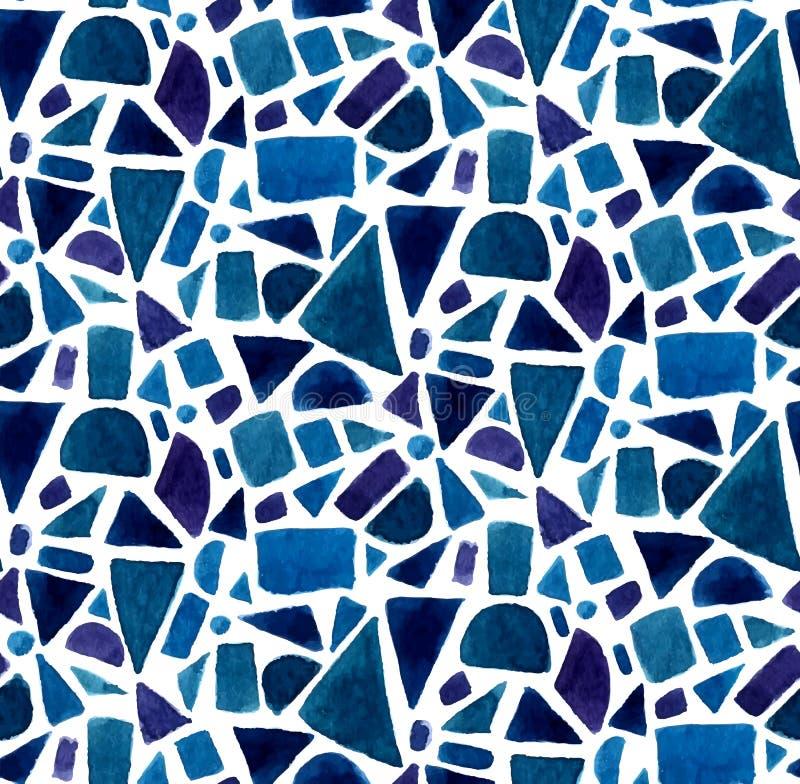 Le modèle bleu de la géométrie avec l'aquarelle a peint des formes de mosaïque Fond sans joint de vecteur illustration de vecteur
