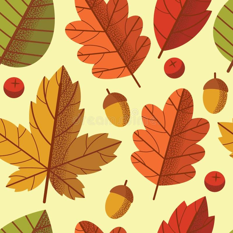 Le modèle coloré sans couture de vecteur des feuilles d'automne tombent vers le bas illustration de vecteur