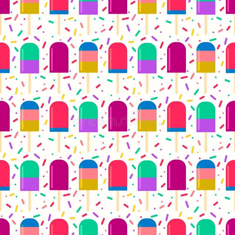 Le modèle d'été avec de la glace à l'eau fruitée sur des confettis arrose le fond illustration stock
