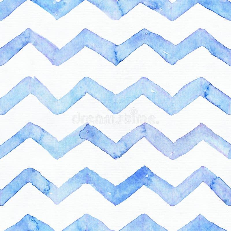 Le modèle d'aquarelle bleue avec les rayures bleues de zigzag, tirées par la main sans couture avec de l'eau les imperfections et illustration libre de droits