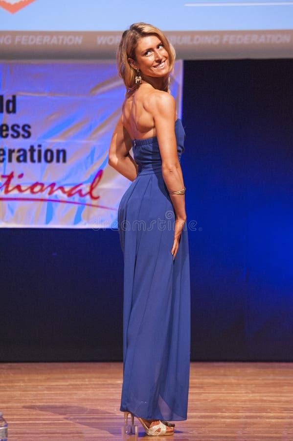 Le modèle de chiffre femelle dans la robe de soirée montre son meilleur photo stock