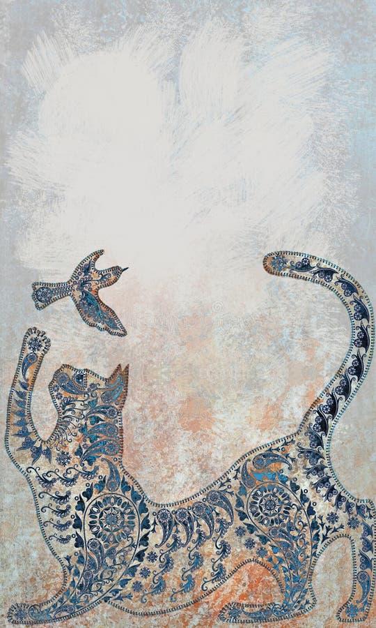 Le modèle de couleur en pastel de décoration a stylisé tropical, silhouett de chat illustration stock