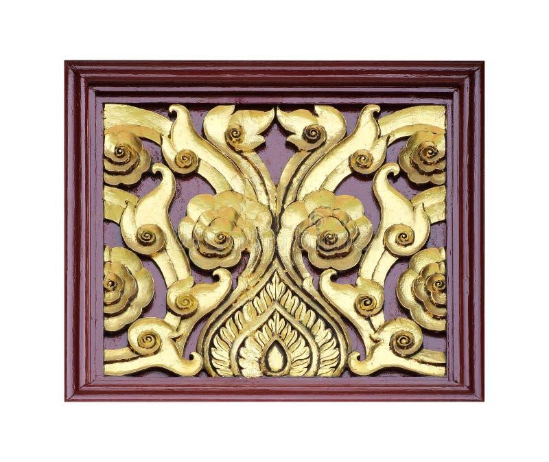 Le modèle de la fleur a découpé sur le bois pour la décoration image libre de droits