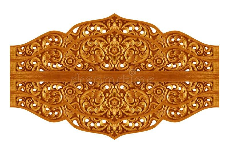 Le modèle de la fleur a découpé sur le bois pour la décoration photographie stock