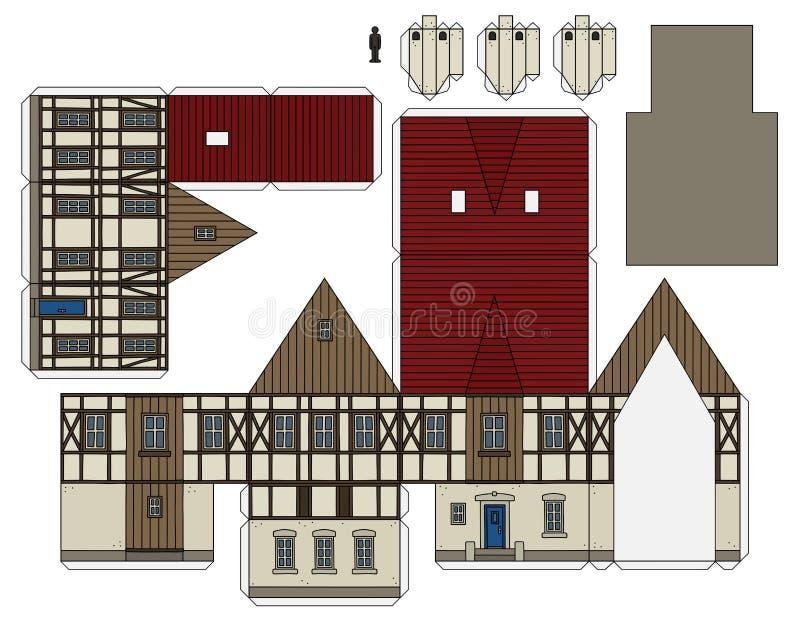 Le modèle de papier d'une vieille maison illustration de vecteur