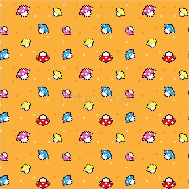 Le modèle de pixel avec le champignon et le fond orange illustration de vecteur