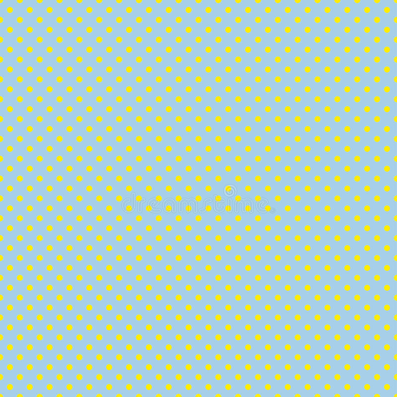 Le modèle de point de polka Illustration sans couture de vecteur avec les cercles ronds, points Jaune et bleu illustration de vecteur