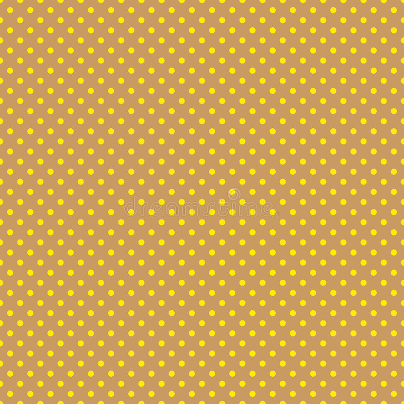 Le modèle de point de polka Illustration sans couture de vecteur avec les cercles ronds, points Jaune et brun illustration libre de droits