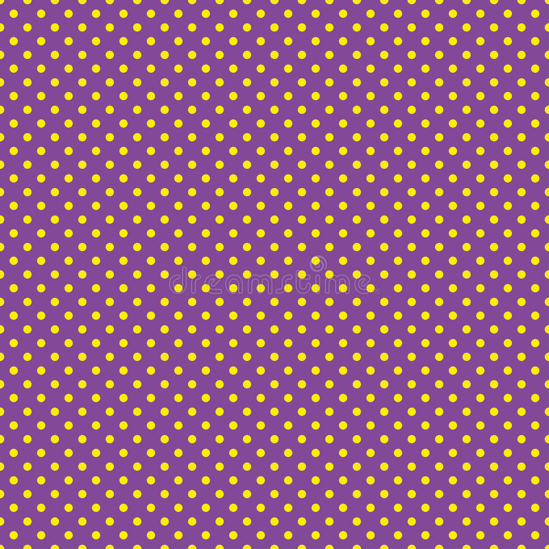 Le modèle de point de polka Illustration sans couture de vecteur avec les cercles ronds, points Jaune et pourpre illustration stock